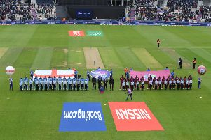 SOUTHAMPTON, ENGLAND - JUNE 14: The teams line up for the anthems ahead of the Group Stage match of the ICC Cricket World Cup 2019 between England and West Indies at The Hampshire Bowl on June 14, 2019 in Southampton, England. (Photo by Mike Hewitt/Getty Images) 775286237