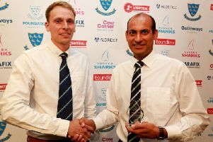 Ollie Smith (Sussex Cricket All Stars Cricket coordinator) (left) & All Stars Activator of the Year Henry Branson (East Dean & Friston CC)