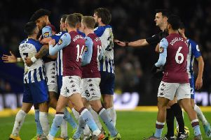 Neal Maupay was a frustrated figure throughout the match against Aston Villa